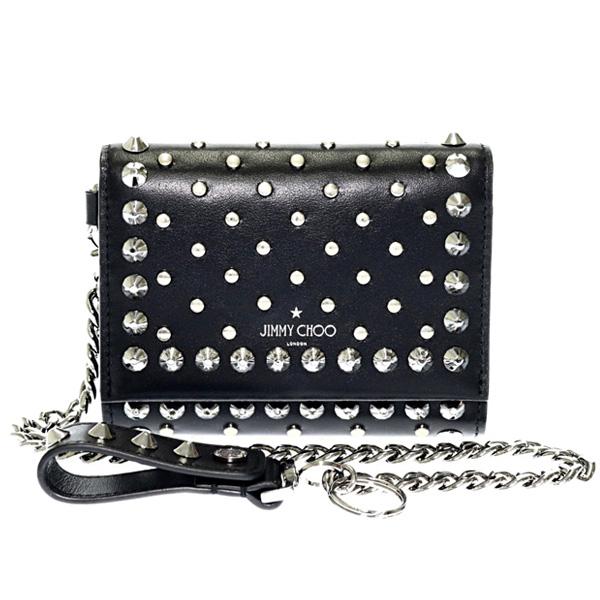 ロルフ スタッズ 三つ折り財布 チェーン  ブラック(黒)×シルバー金具