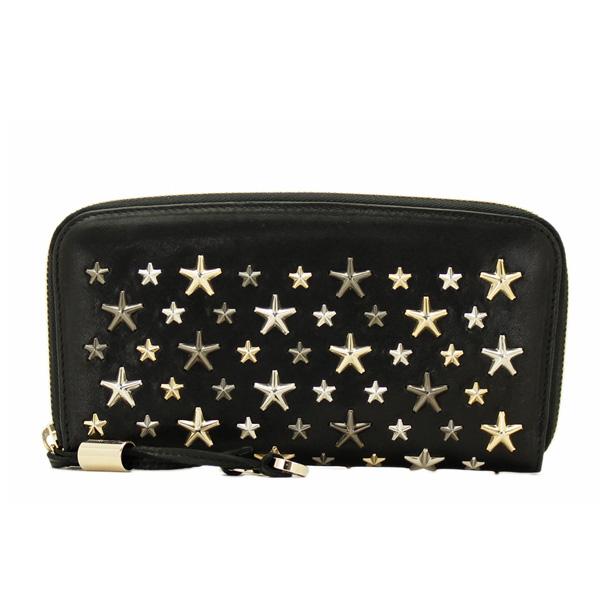フィリッパ スタースタッズ ラウンドファスナー長財布  ブラック(黒)×ゴールド金具×シルバー金具