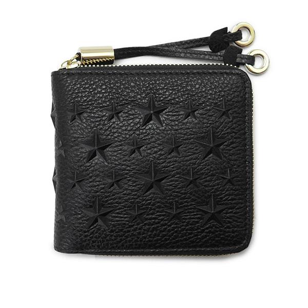 テッサ スタースタッズ ラウンドファスナー二つ折り財布  ブラック(黒)×ゴールド金具